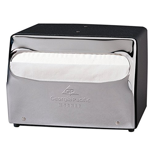 Georgia-Pacific MorNap 51602 Black & Chrome Full Fold Table Model Napkin Dispenser, (WxDxH) 7.500'' x 6.000'' x 5.375'' by Georgia-Pacific