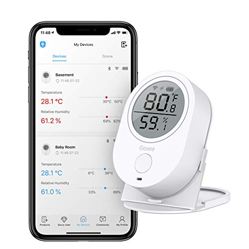 Temperature Humidity Monitor, Govee WiFi Digital Indoor Hygrometer Thermometer, Wireless Temperature Humidity Sensor with Alerts. Smart Humidity Gauge for Home, House, Garage and Wine