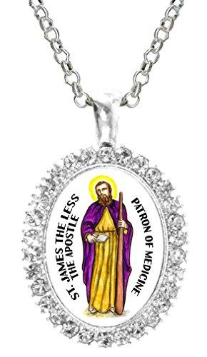St James the Less Apostle Patron of Medicine Cz Crystal Silver Necklace Pendant