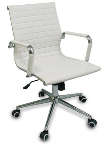 The  Gianni  Modern Ribbed Low Back Chair W  Tilt And Chrome Base  White W  White Rim Wheels