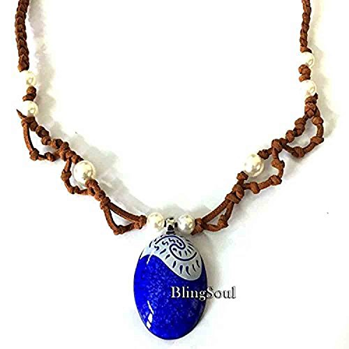 Moana Seashell Magical Necklace - Blue Disney Maui Moana Jewelry Merchandise Gifts for Girls