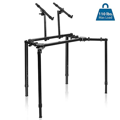 Multi-Functional Mixer Keyboard T Stand - Height & Width Adjustable w/ Ergonomic Design, On-stage Heavy Duty & Compact Digital Keyboard Stand, Rack Case, for Home Studio & Travel - Pyle PKST55