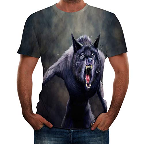 JJLIKER Men's 3D Wolf Graphic Print Cool Design Short Sleeve T-Shirts Summer Personalized Hipster Tees Tees ()