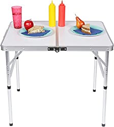 Lightweight Adjustable Portable Folding Aluminum Camp Table With Carry Handle By Trademark Innovations