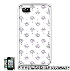 Purple Pretty Floral Flowers Pattern iPhone 4 4S Case Cover Skin White