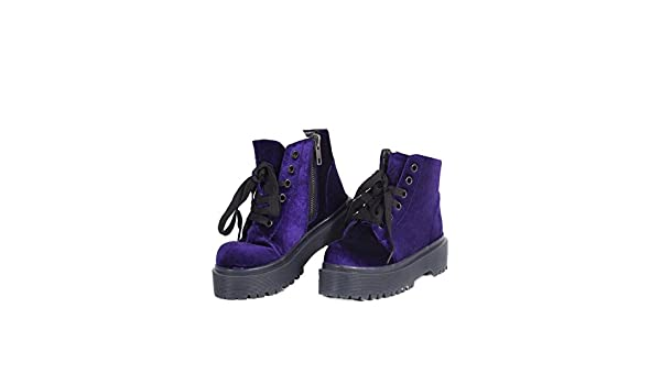 4cb0c6cfa5a1e Amazon.com | YRU 'SLAYR' Purple Velvet Rave Boots (8) | Shoes