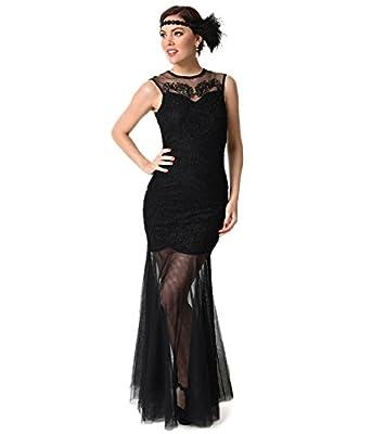 Vintage Style Black Beaded Mermaid Mesh Long Flapper Dress