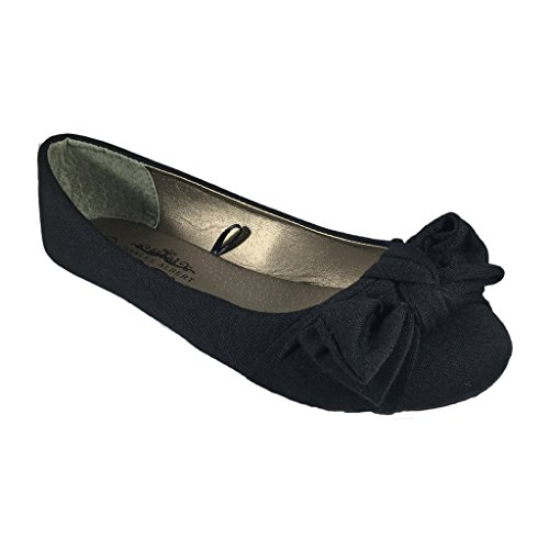 Charles Albert Womens Big Bow Canvas Comfortable Slip On Ballet Flat Black 9lQgUx