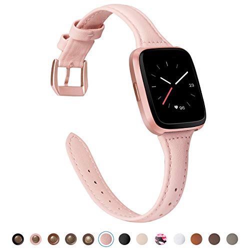 TOYOUTHS Compatible Fitbit Versa Leather Bands, Slim Genuine Leather Versa Special Edition Watch Band Classic Strap with Quick Release Pins Replacement Wristband Accessories for Women Men Blush Pink