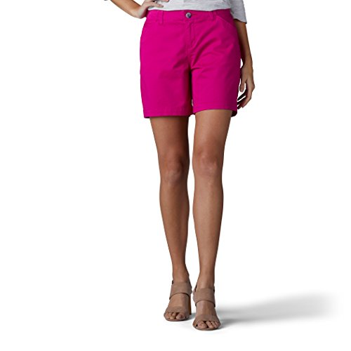 LEE Women's Straight Fit Tailored Chino Short, Vintage Boysenberry, (Pink Chino)