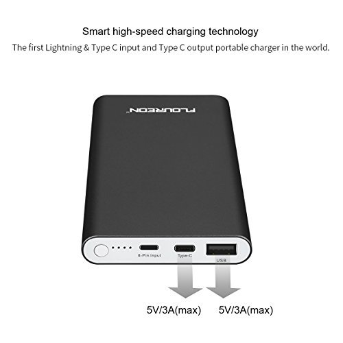 12000mAh Polit Power Bank Charger with 3A Type C Input and Output, Floureon Portable External Battery Cell Phone Charger USB Power Banks for iPhone Xs/X Max/XR X/8, iPad Mini/Air, Samsung Galaxy etc