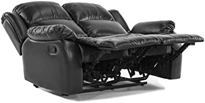 Surprising Classic Double Reclining Loveseat Bonded Leather Living Room Recliner Black Customarchery Wood Chair Design Ideas Customarcherynet