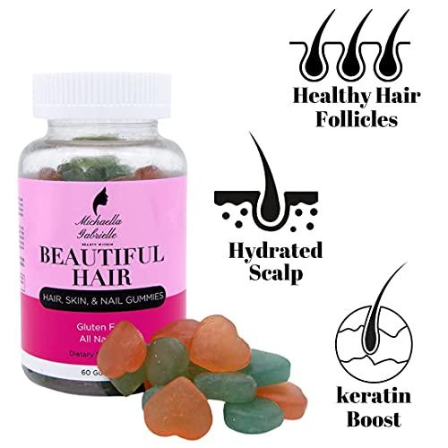 Michaella Gabrielle Hair Gummies - 60 Extra Strength Vegan Gummies for Hair Growth with Biotin, Vitamin A, C and E   Delicious Gluten Free Hair Vitamins for Healthy Hair Growth   1 Month Supply