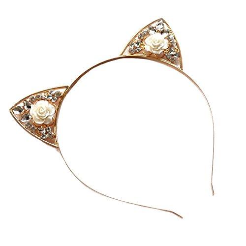CHUANGLI Cute Rose Flower Crystal Cat Ear Headband for Women Girls Fancy Dress Party ()