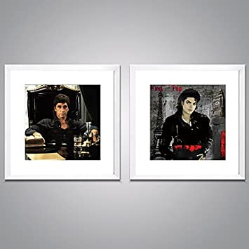 Amazon.com: XGHC Framed Canvas Prints Michael Jackson and Scarface ...