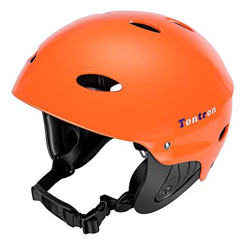 (Tontron Adult Whitewater Kayaking Canoeing Bike Skate Multi-Sports Helmet (X-Orange, Medium))