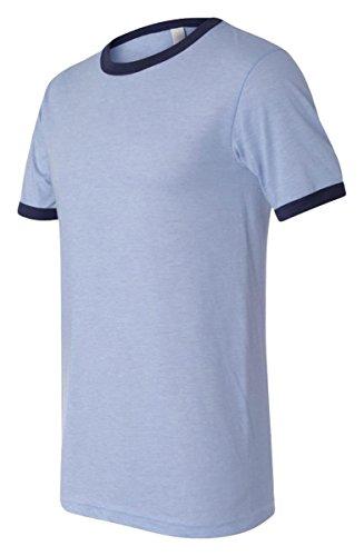 Mens Ringer T-shirt - Bella 3055 Mens Jersey Short Sleeve Ringer Tee - Heather Blue & Navy, Large