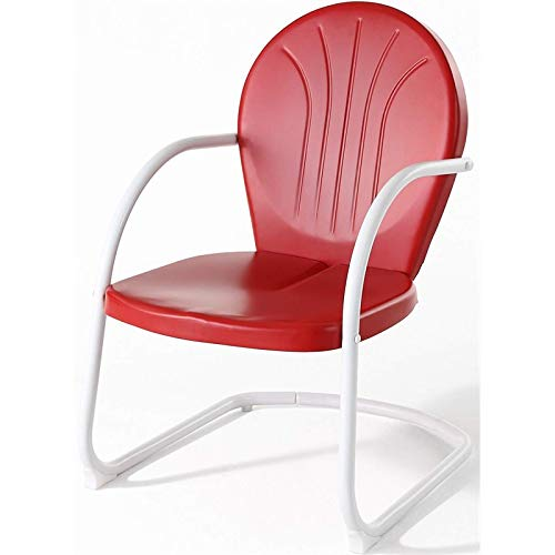 Pemberly Row Outdoor Patio Sturdy Metal Chair in Red ()