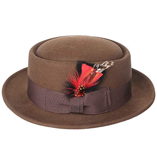 - Sedancasesa Men's Dress 100% Wool Felt Flat Top Pork Pie Fedora Hats W/Feather