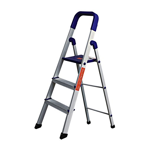 Parasnath Prime Home Pro Blue 3 Step Light Weight Aluminium Heavy Duty Folding Ladder Made in India (3 Step)