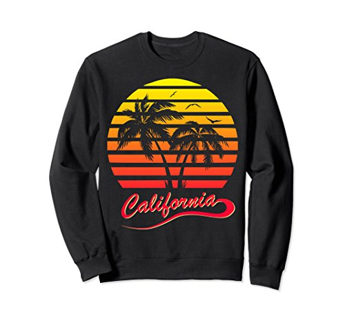 Unisex California 80s Sunset Sweatshirt Large Black