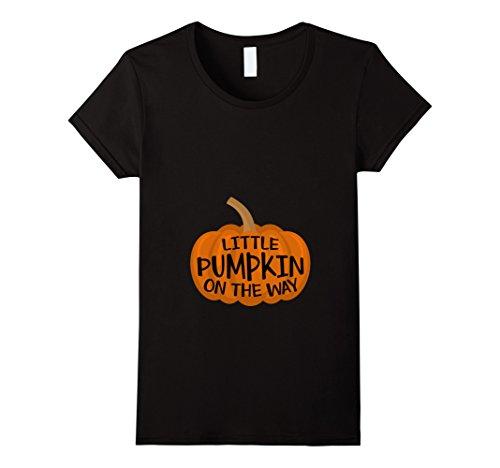 Womens Little Pumpkin On The Way Cute Halloween Pregnancy T-Shirts Small Black (Time For Halloween)