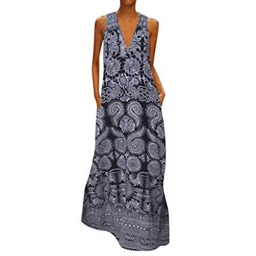 Women Bohe Long Dress Plus Size Sleeveless V Neck Short Sleeve Loose Printing Summer Sun Dresses with Pocket Gray