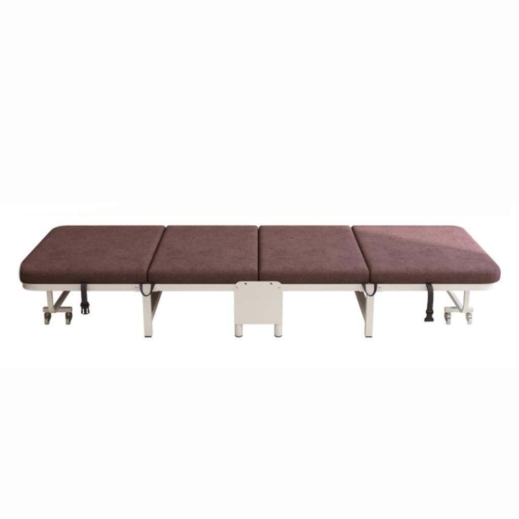 GuanBed Klappbett Verdickungsschwamm 4-Fach Klappbett Multi-Rücken-Rückenverstellung Office Recliner Begleitbett Outdoor Einfaches Bett (Color : Brown)