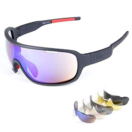 Lorsoul Polarized Sports Sunglasses UV400 With 5 Interchangeable Lenes for Men Women Cycling Running Driving Fishing Golf Baseball Glasses (Black) (Multi Lens Biking Glases)