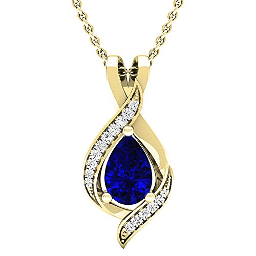 Dazzlingrock Collection 14K Pear 9X6 MM Lab Created Blue Sapphire & Round Diamond Ladies Pendant, Yellow Gold