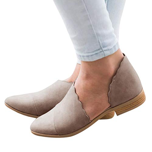 Cicy Bell Womens Cute Ankle Boots Cut out Pointed Toe Flat Casual Slip on Booties