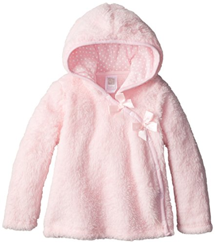 QT Baby Baby Girls' Pretty Bow Fleece Jacket with Polka Dot Jersey Hood Lining, Baby Pink, 18 Months