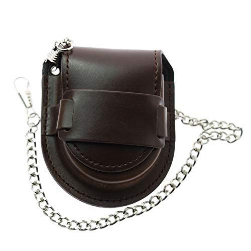 LYMFHCH Bronze Leather Chain Pocket Watch Holder Storage Case Box Coin Purse Pouch Bag (Brown) ()