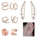 "JININA Ear Cuff Wrap- Rose Gold Ear Crawler Earring Ear Cuff with ""7-Star'' Designs for Women Girls Climber Earrings"