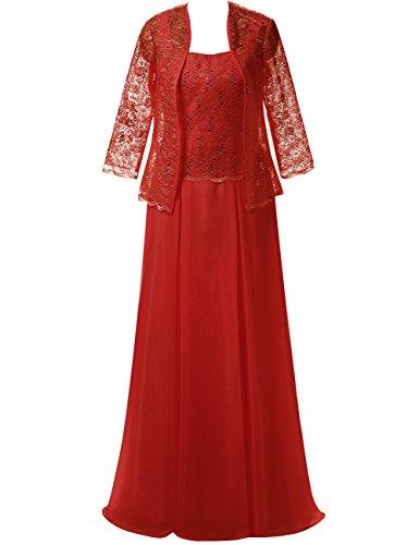 Braut Festkleid Spitze der Chiffon Lang Mutter Rot mit Damen Kleider Abendkleider Jacke Av4n0xEn