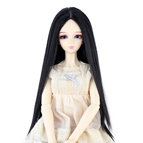 Long Straight 9-10 Inch 1/3 BJD MSD DOD Pullip Dollfie Doll Wig Centre Parting Hair Accessories Not for Human (Jet black)
