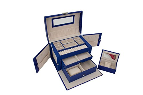 Blu Monaco Royal Blue Leather Mirrored Jewelry Box with Lock Drawers - Portable Jewelry Organizer Lockable - Watch,  Earrings, Ring Security Box  - Travel Jewelry (Blue Jewelry Box)