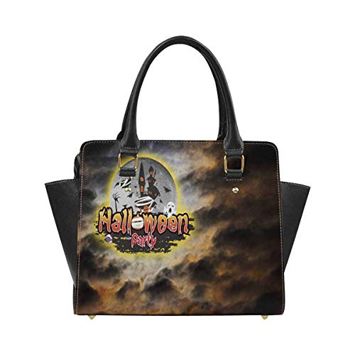INTERESTPRINT Halloween Party With Creepy Spider Scary Bat Top Handle Shoulder Handbag