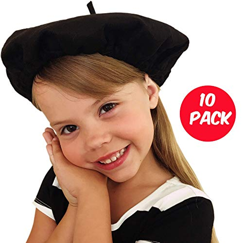 Beret Hats for Women and Kids Black French Berets Bulk Lot of 10 Perfect for Paris Party and Art Party]()