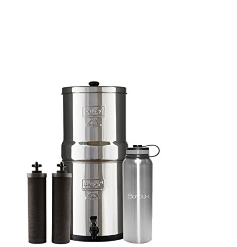 Big Berkey Water Filter System includes Black filters (2.25 Gallon) bundled with Boroux 40 oz Stainless Steel Double Wall Bottle by Boroux