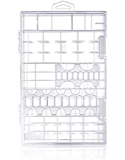Cell Battery Storage Case Organizer Clear Box Hanging Hook Hole, Clasp Lock AA AAA 9V C D Size Batteries, Great as Rechargeable Battery Holder Container (1 Pack)