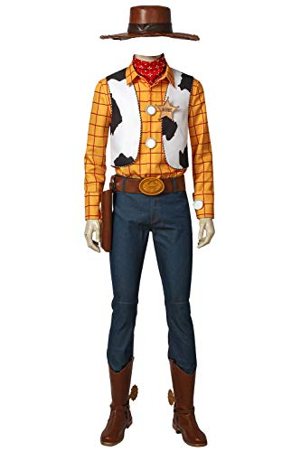 Mens Woody Costume Kit Deluxe Adult Halloween Cosplay Full Set Dress Up Suit -