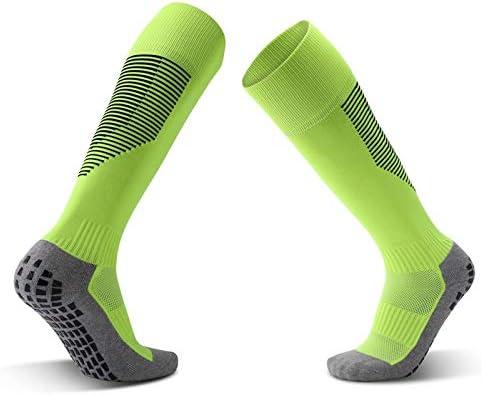 スポーツソックス 靴下 ディスペンシング滑り止めサッカーソックススポーツソックス厚手のタオルボトムオーバーニーストッキング快適で スポーツ (Color : Green, Size : One size)