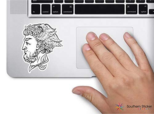- ExpressDecor God of Wine Greek face Bacchus 3x3.5 inches Fishing Hunting Lure Angling Trout Stream Funny Stickers for pro Union Lunch Box Tool Box Symbol Window Motorcycle - Made and Shipped in USA