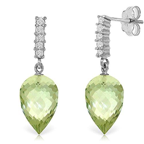 ALARRI 19.15 Carat 14K Solid White Gold Life In My Heart Green Amethyst Earrings