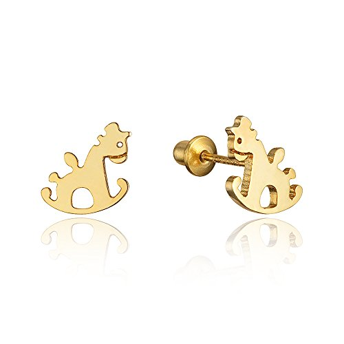Price comparison product image 14k Gold Plated Brass Horse Screwback Baby Girls Earrings with Sterling Silver Post
