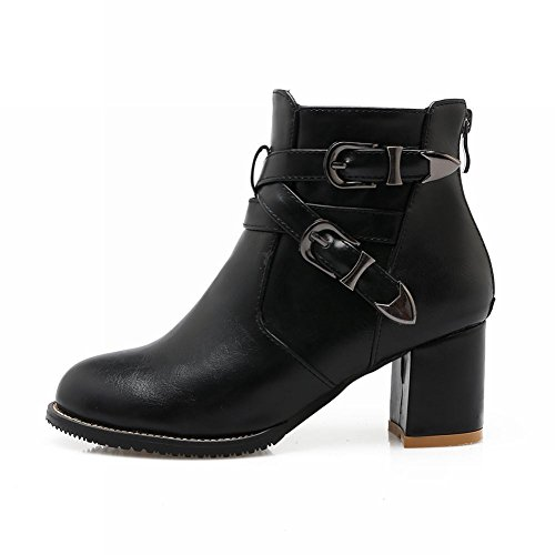 Latasa Womens Monk Strap Chunky Heels Ankle Boots Black 1DvBMt1aW