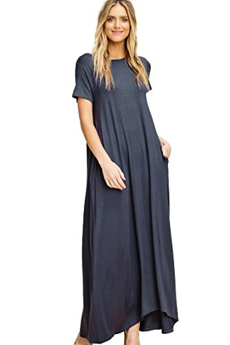 Annabelle Womens Round Neck Short Sleeve Uneven Hem Casual Jersey Maxi Dress with Side Pockets