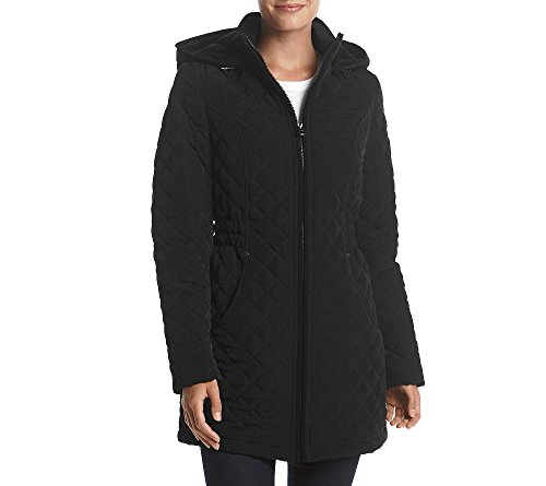 Coat Quilted Laundry (Laundry Hooded Zip Front Quilted Coat Black X-Large)