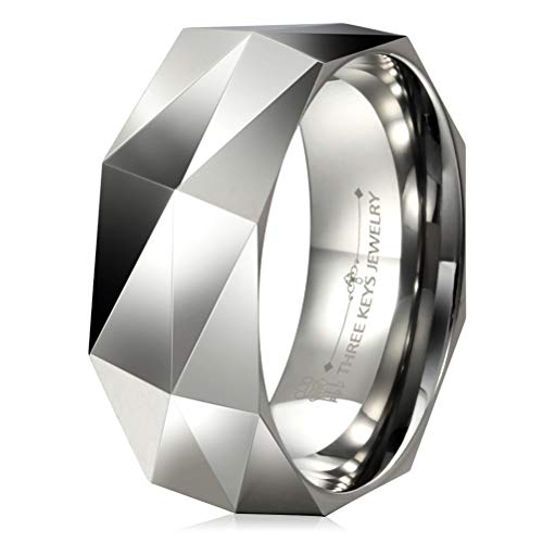 Three Keys Jewelry 8mm White Tungsten Carbide Ring Wedding Engagement Band Silver Multi Faceted Fashion Band Silver Size 11
